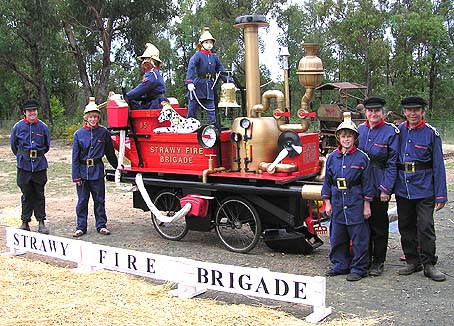 Strawy Fire Brigade Scarecrows and Firemen