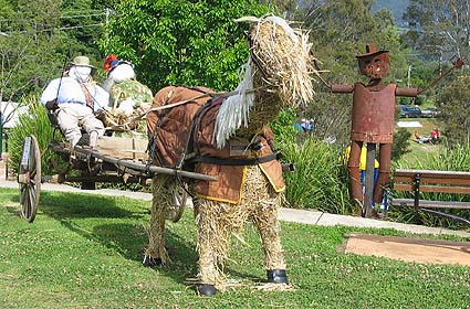 horse and sulky scarecrow