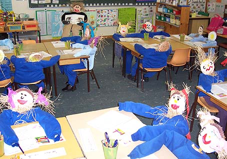 Classroom of scarecrows